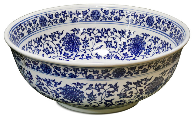 Best Porcelain Basin Sink Bowl With Blue And White Motif This Month