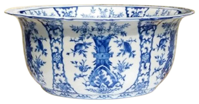 Best Chinese Large Blue And White Floral Chinoiserie Porcelain This Month