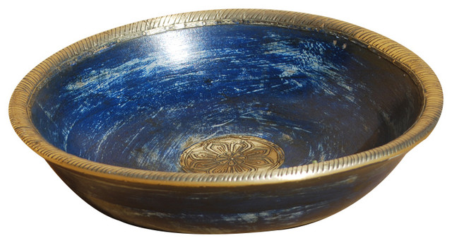 Best Palace Gates Hand Carved Blue Gold Wooden Fruit Bowl This Month