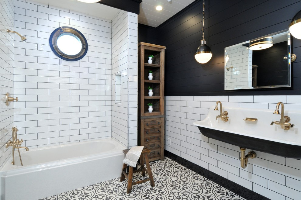 Best Los Angeles Black And White Bathroom Art Transitional With This Month