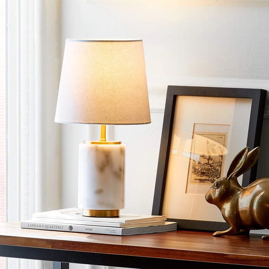 Best Rivet Mid Century Modern Marble Mini Table Decor Lamp This Month