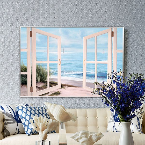 Best 21×31In Fake Window Beach Hanging Canvas Waterproof And This Month