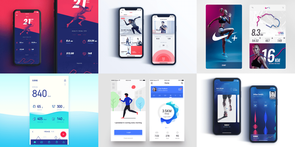 Best Friday Design Inspiration 15 Inspiring Fitness App Designs This Month
