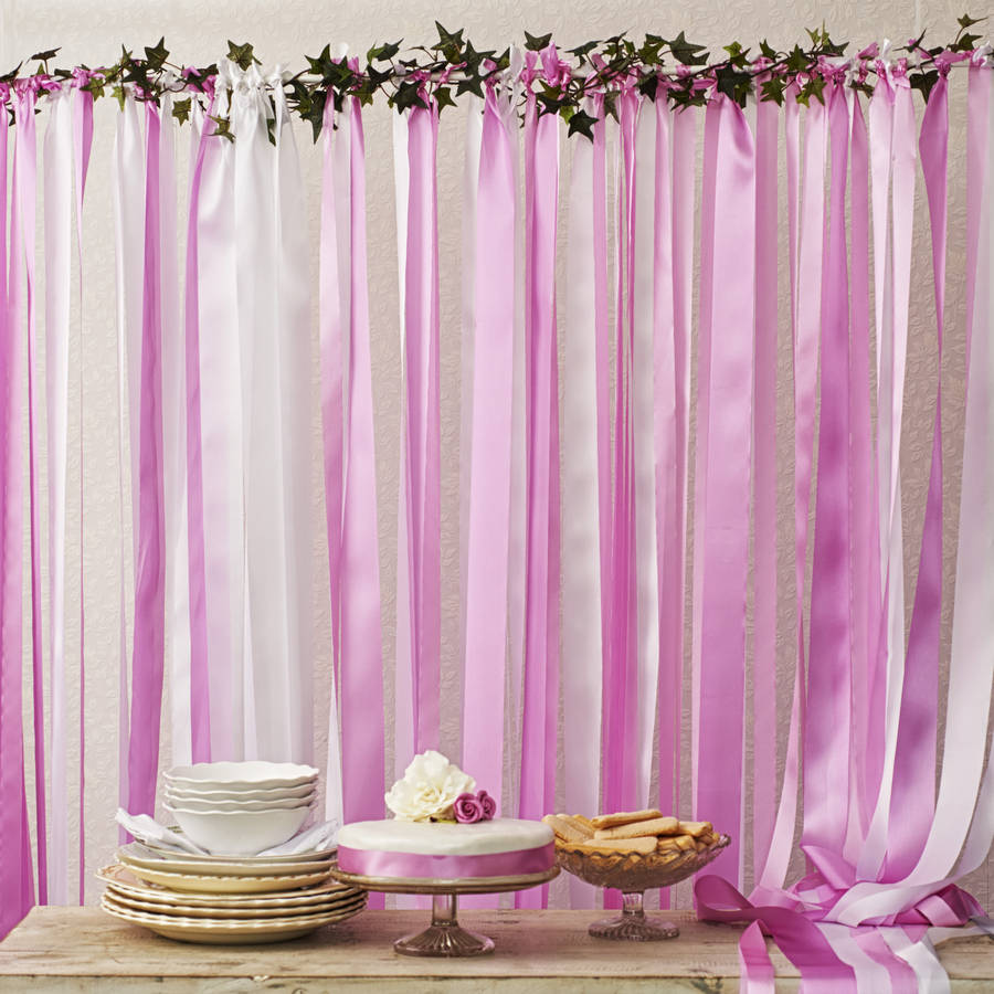 Best Candy Pinks Ribbon Backdrop On White Pole With Ivy By Just This Month