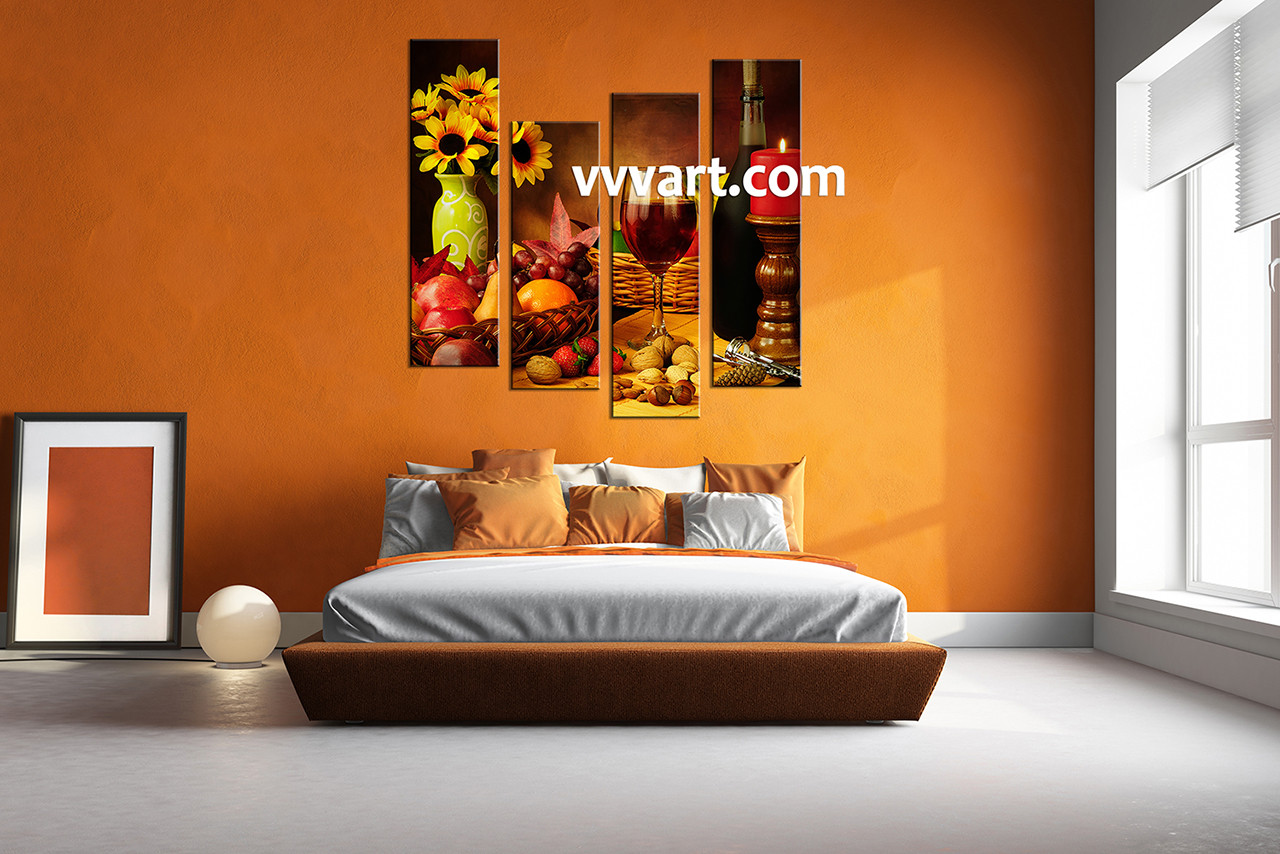 Best 4 Piece Colorful Canvas Wine Home Decor Wall Art This Month