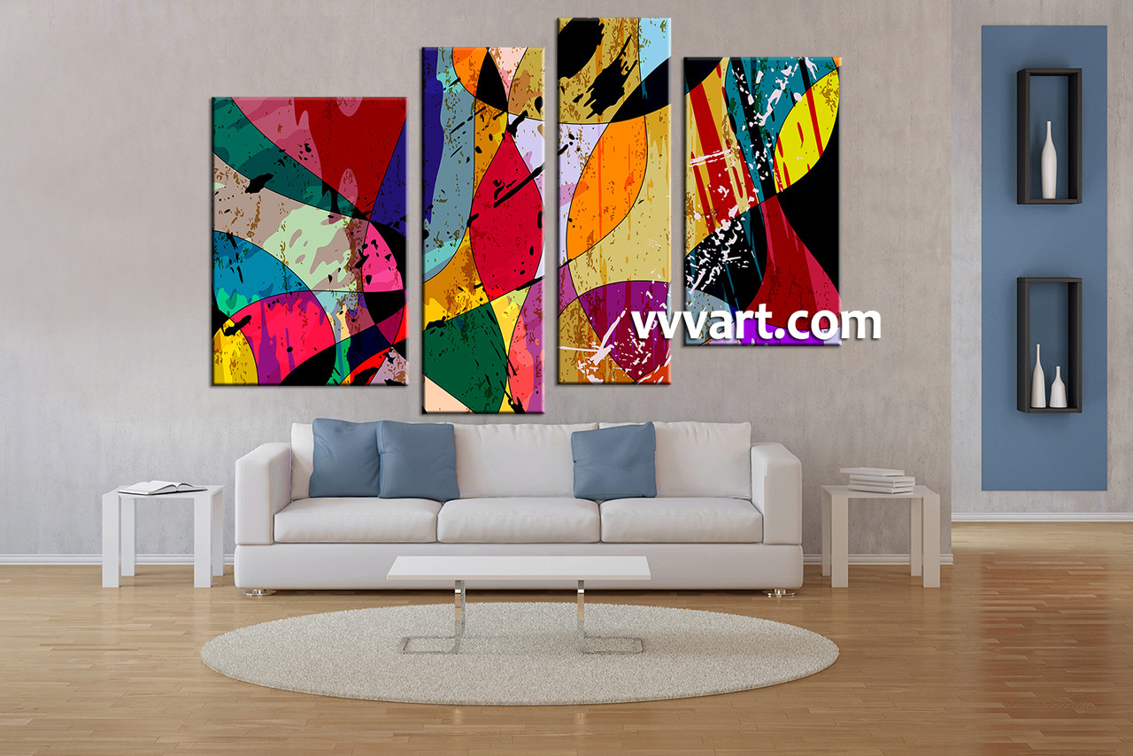 Best 4 Piece Colorful Home Decor Abstract Canvas Wall Art This Month