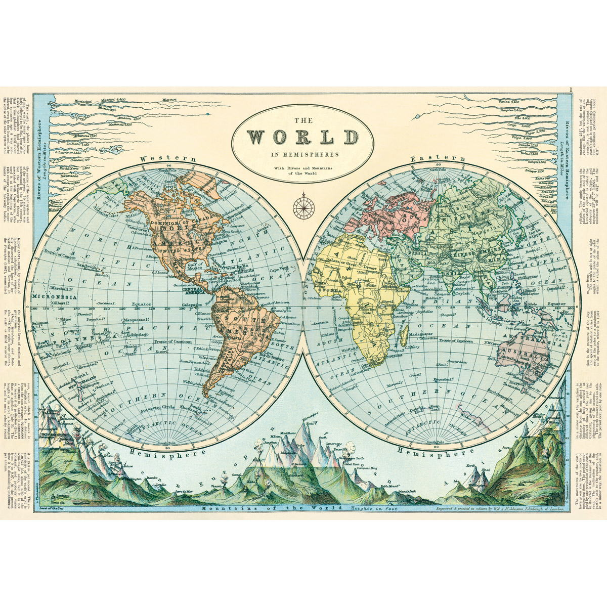 Best Hemispheres World Map Vintage Style Poster Decorative This Month