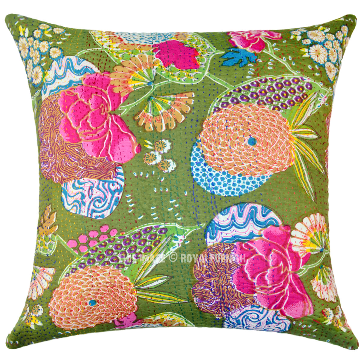 Best 24 X24 Large Green Decorative Accent Tropical Kantha This Month