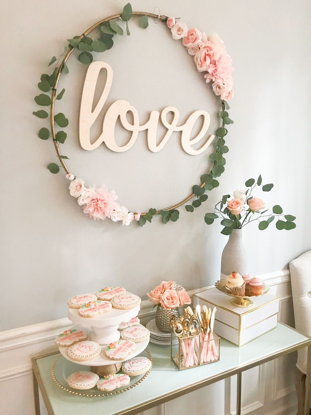 Best Diy Hula Hoop Love Sign Blush And Gold Bridal Shower Decor This Month