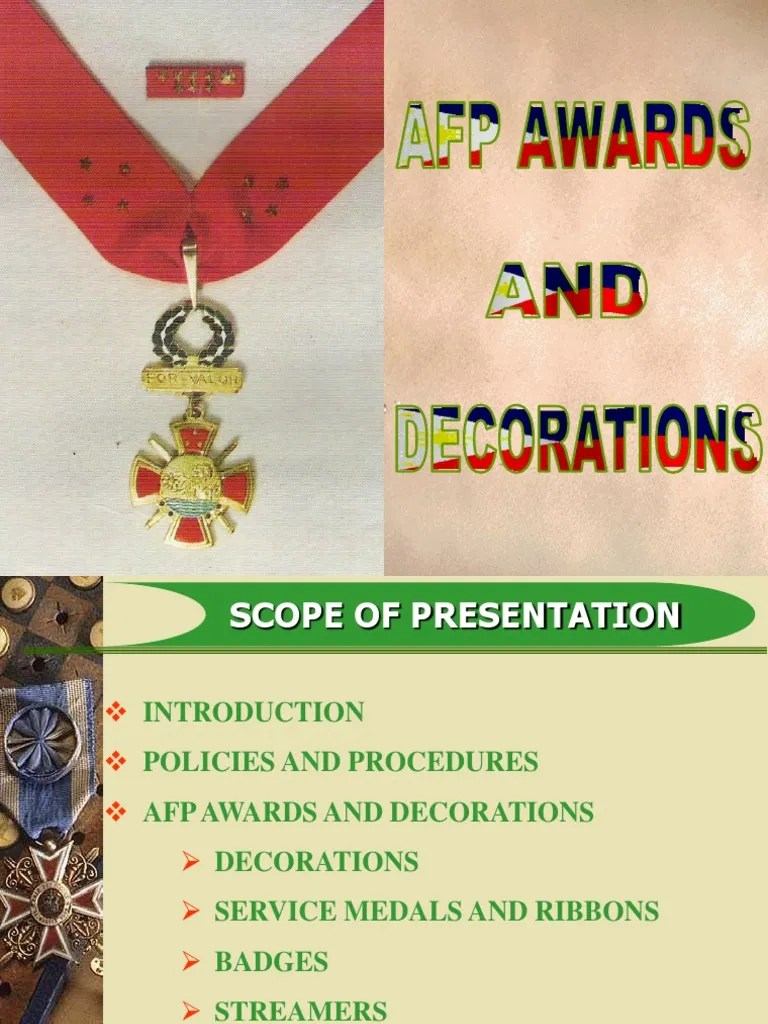 Best Afp Awards And Decorations Ppt This Month