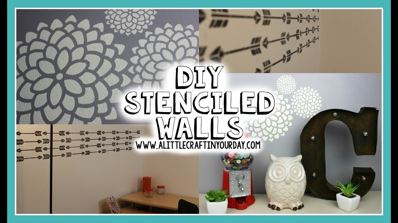 Best Diy Stenciled Wall Easy Diy T**N Room Decor Youtube This Month