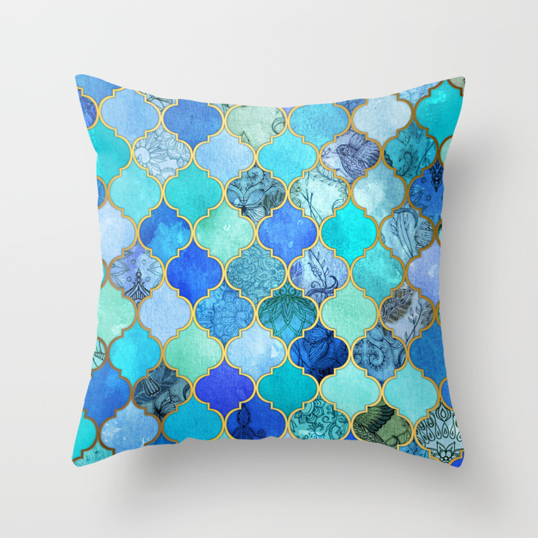 Best Dark Blue Pattern Throw Pillows Society6 This Month