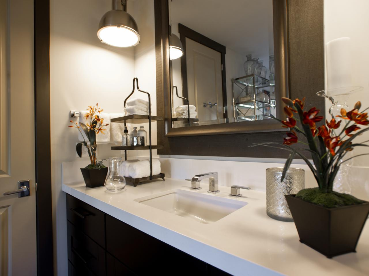 Best Single Vanity With Dark Base And Glossy White Counter Hgtv This Month