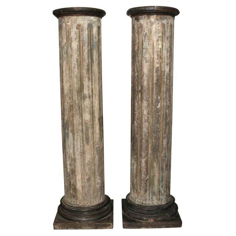 Best Pair Of Decorative Canvas Covered Wood Columns At 1Stdibs This Month