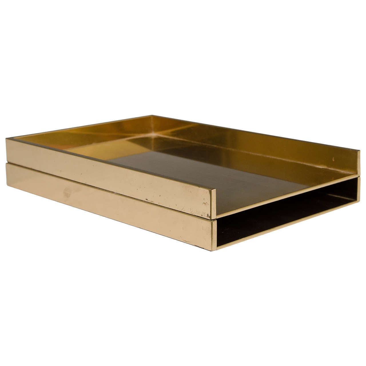 Best Vintage Pair Of Sleek Brass Stackable Paper Trays Or Desk This Month
