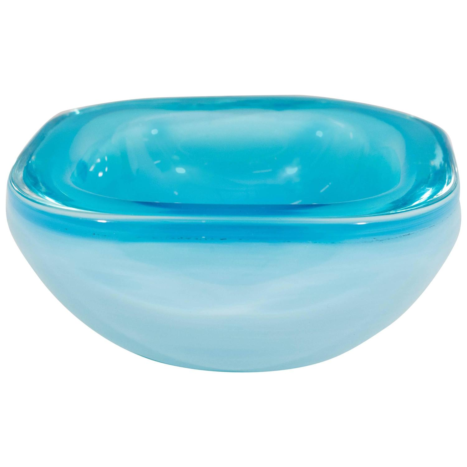 Best Blue Opaline Murano Glass Decorative Bowl At 1Stdibs This Month