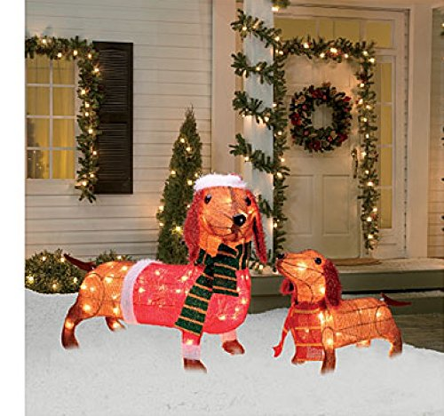 Best Light Up Holiday Dachshund Family 2 Piece Set 17 Inches This Month