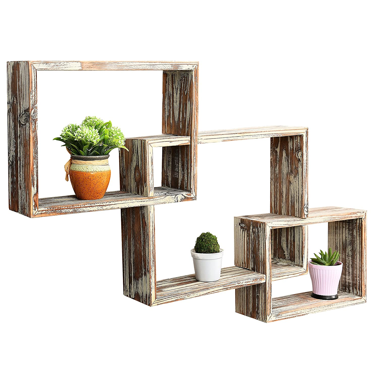 Best Mygift Country Rustic 3 Tier Floating Box Shelves This Month