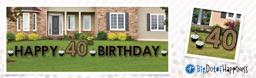 Best Amazon Com *D*Lt 40Th Birthday Gold Yard Sign Outdoor This Month