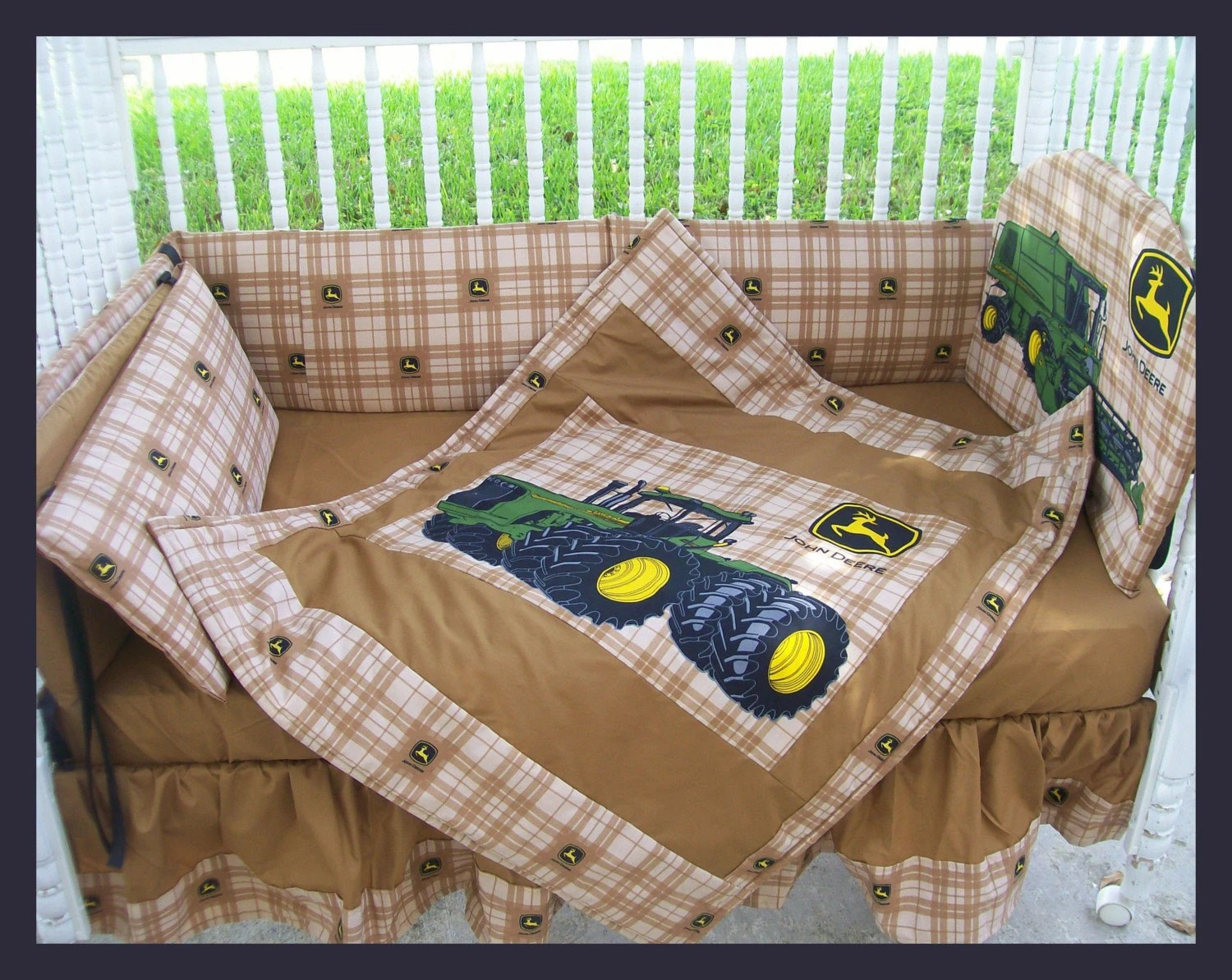 Best New John Deere Baby Crib Bedding Set Made W New Brown Plaid This Month