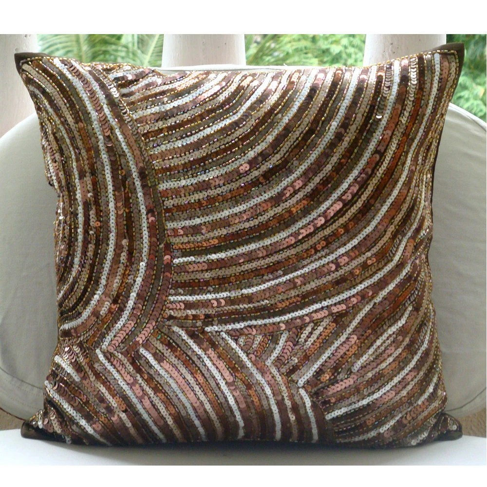 Best Luxury Brown Decorative Pillow Cover 16X16 Silk This Month