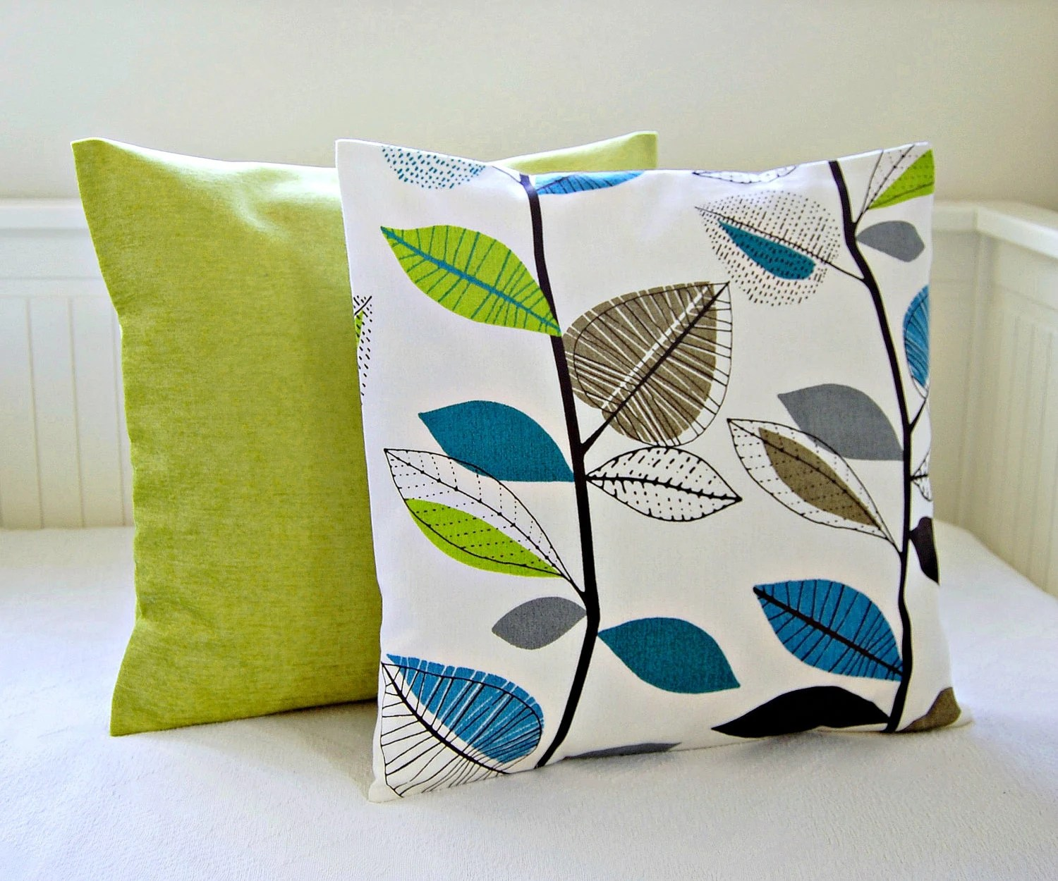 Best Decorative Pillows Teal Blue Lime Green Leaves Accent Lime This Month
