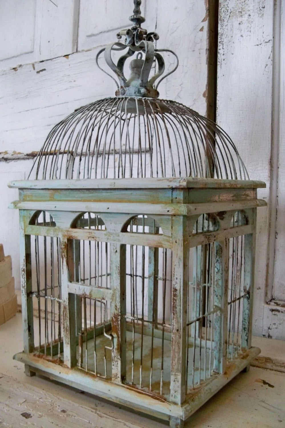 Best Blue Sea Foam Bird Cage Distressed Rusty Rustic Metal Wood This Month