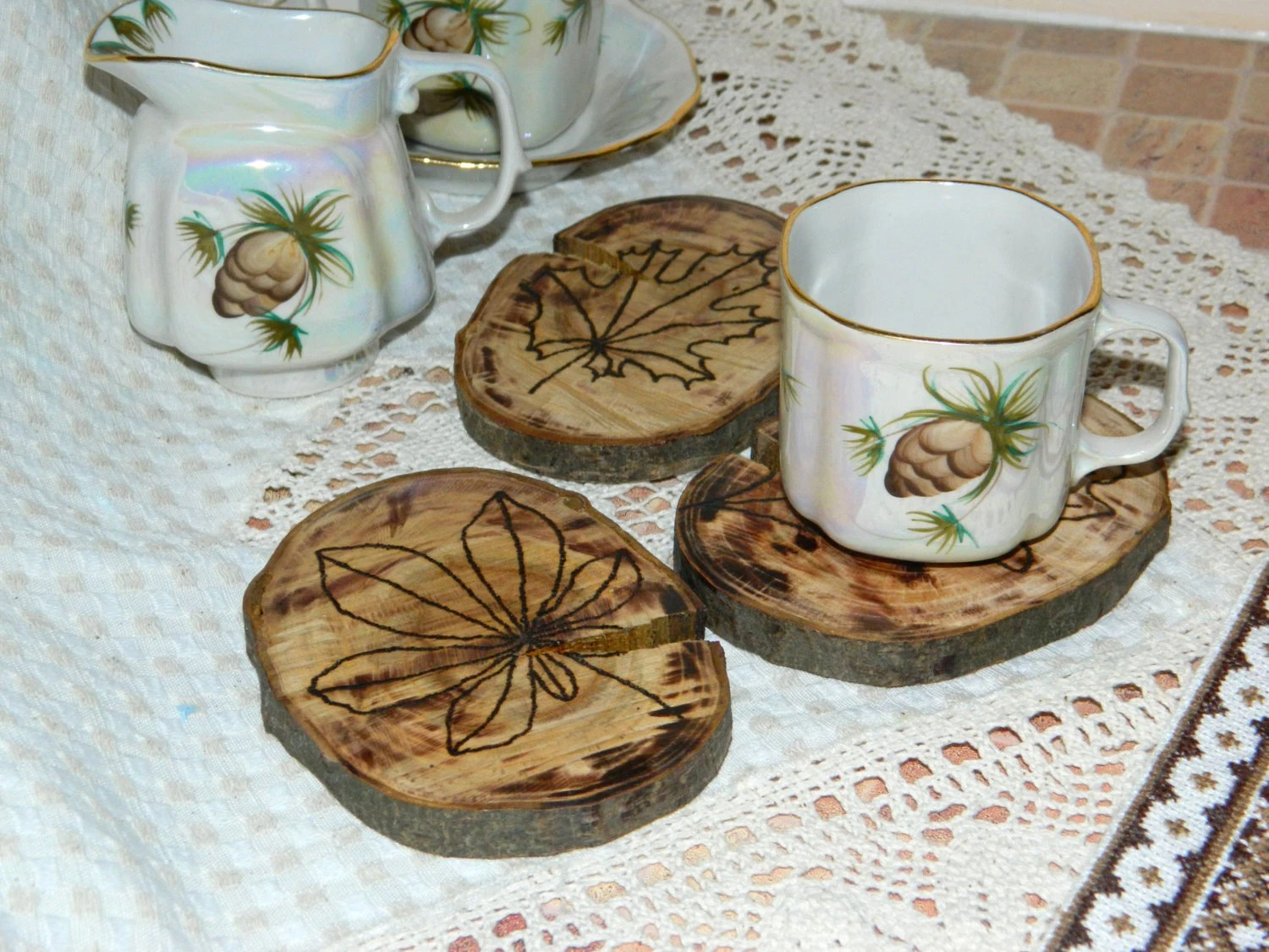 Best Wood Coasters Home Decor Engraved Leaf Coasters Drink This Month