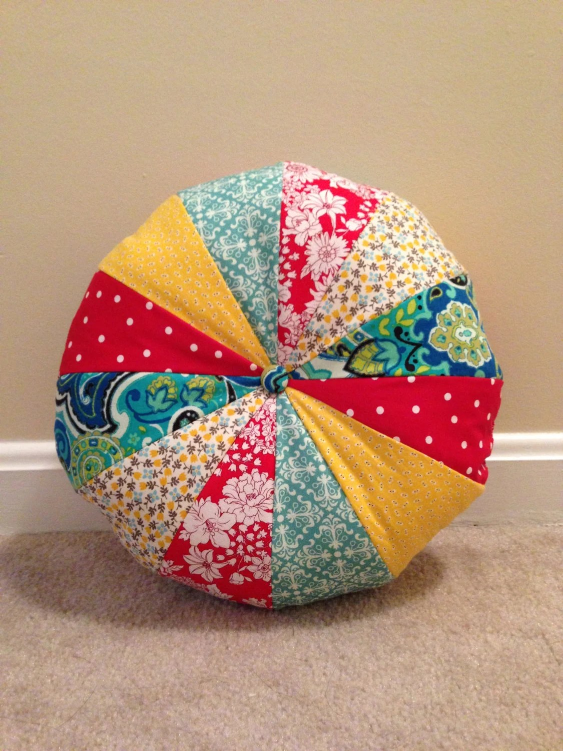 Best Round Pillow Pouf Pillow Red Yellow And By This Month