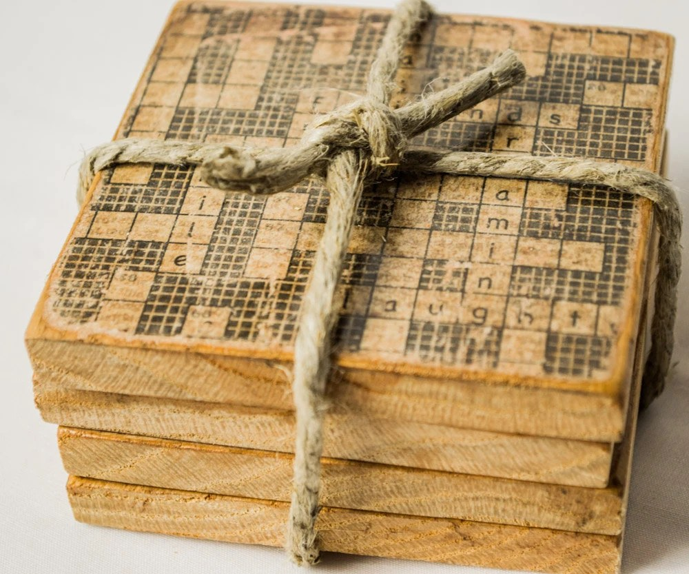 Best Crossword Puzzle Coasters Wooden Drink Holders Vintage This Month