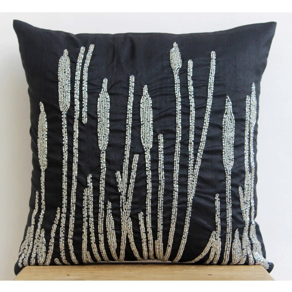 Best Decorative Pillow Sham Cover 24X24 Black Silk Couch Sofa Toss This Month