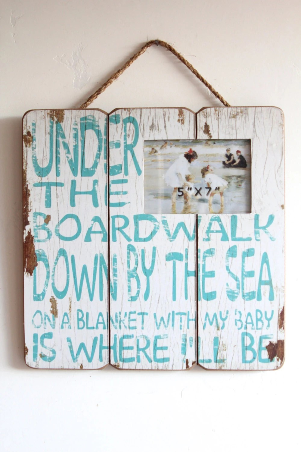 Best Wood Beach Sign Beach Sign Decor Blue And White Wooden This Month