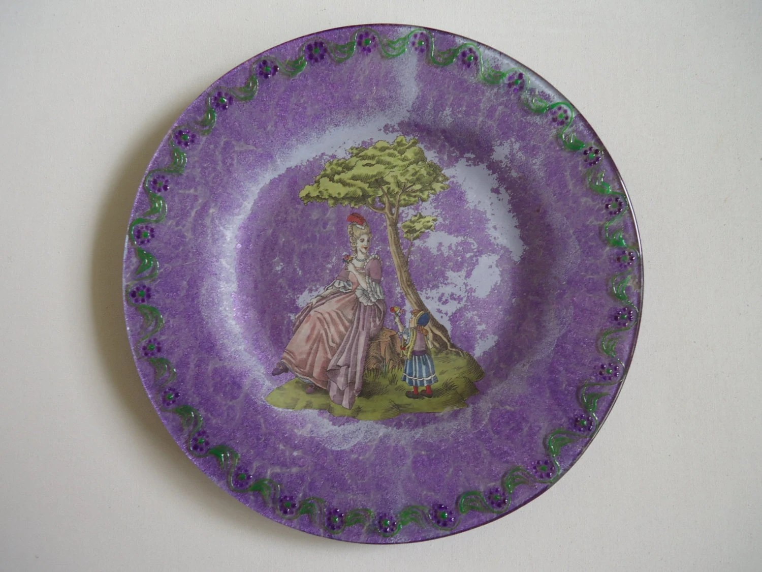 Best Glass Decorative Plate Love Flower Purple This Month