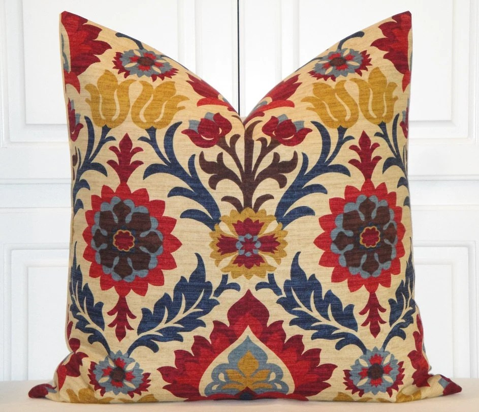 Best Decorative Pillow Cover 24 X 24 Suzani Red Navy Blue This Month