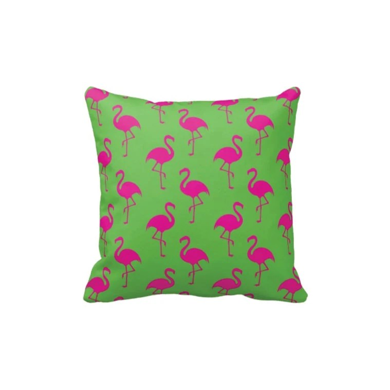 Best Preppy Flamingo Throw Pillow Cover Light Green Hot Pink Or This Month