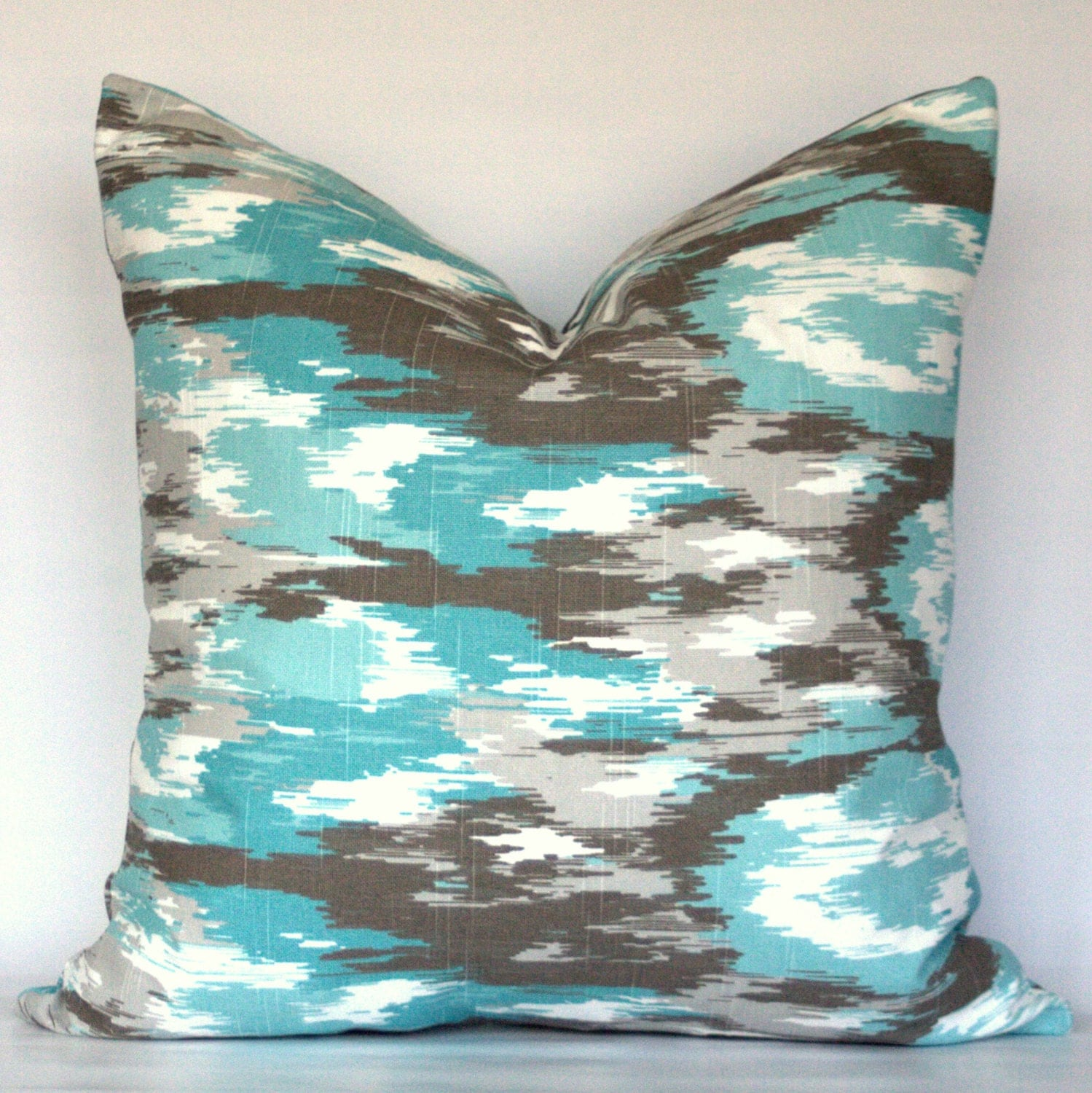 Best Ikat Blue Turquoise Brown Gray Aqua Teal White Decorative This Month