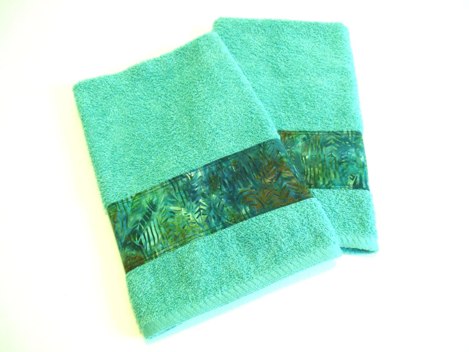 Best Teal Batik Hand Towels Decorative Bathroom Towels Kitchen This Month