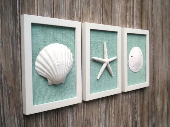 Best Cottage Chic Set Of Beach Wall Art Sea Shells Home Decor This Month