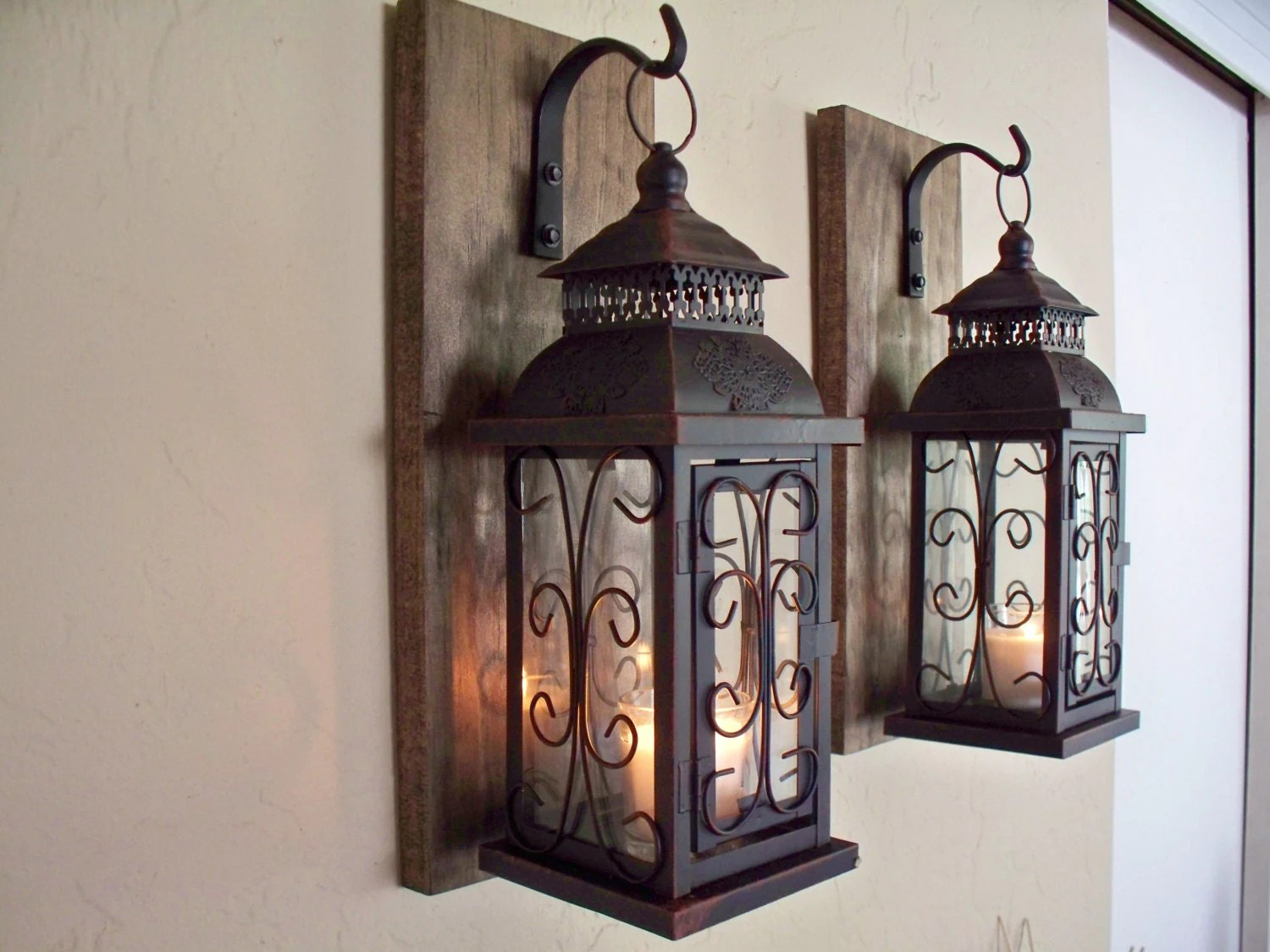 Best Lantern Pair Wall Decor 2 Wall Sconces Housewarming Gift This Month