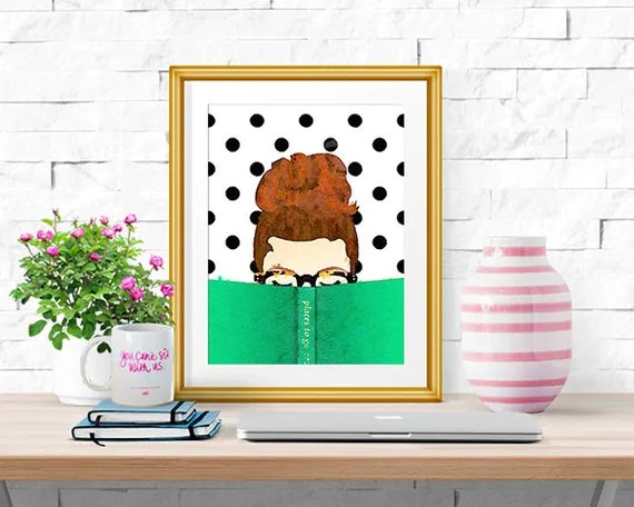 Best Bella Bookworm Watercolor Print Home Decor Read This Month