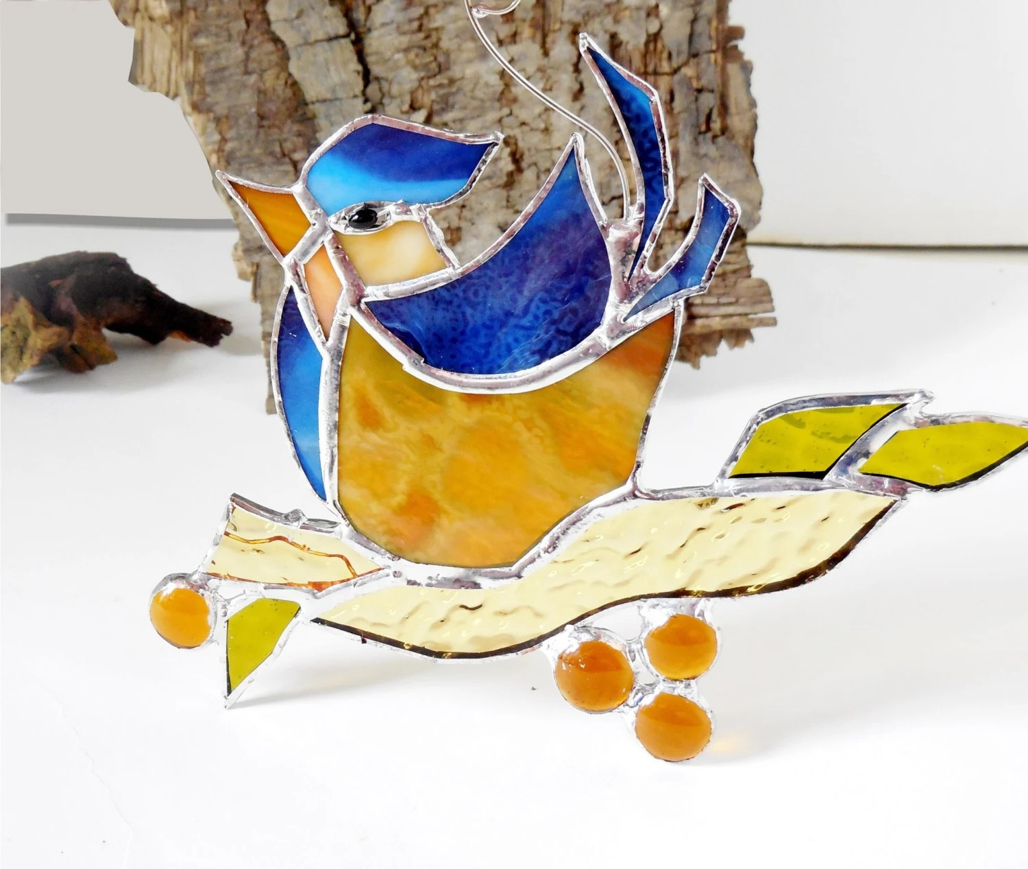 Best Stained Glass Bird The Happy Bird Blue Bird Home Decor This Month