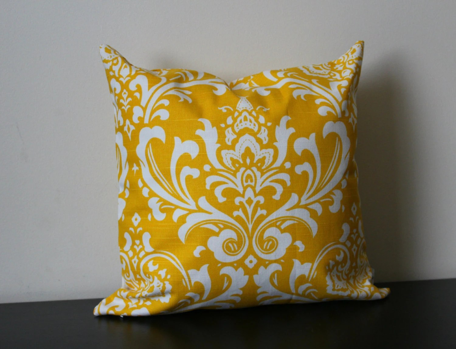 Best Decorative Throw Pillow Cover Yellow And White Damask This Month