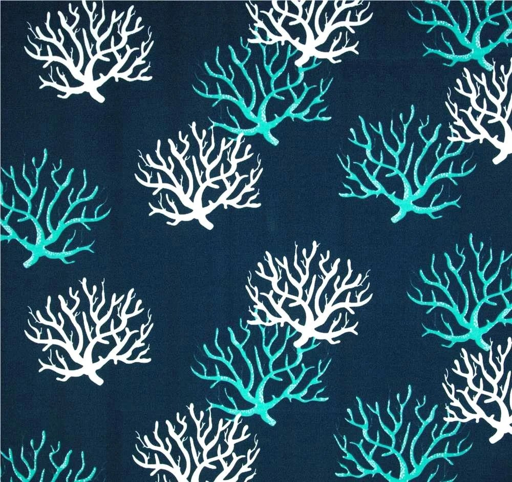 Best Navy Blue Coastal Coral Indoor Outdoor Designer Fabric By This Month