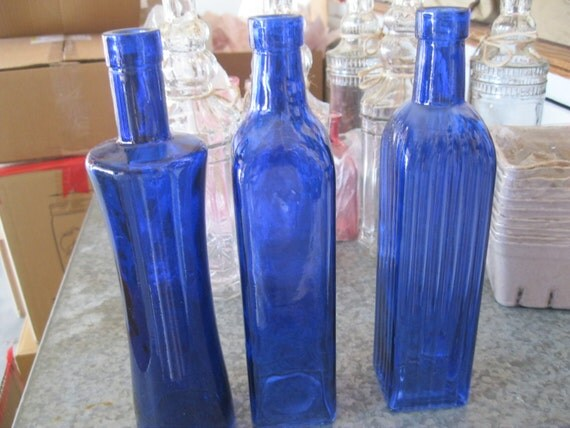 Best 3 Cobalt Blue Decorative Colored Glass Bottles Floral Bud This Month