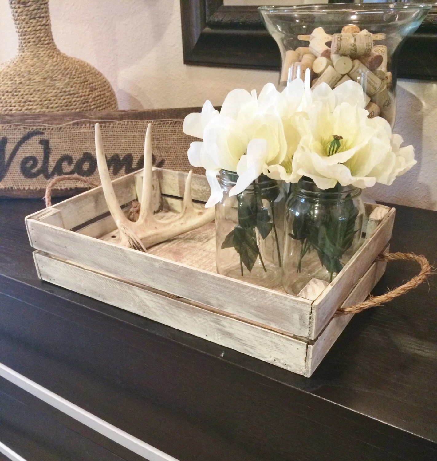 Best White Distressed Tray Stain Distressed Tray W Brackets This Month