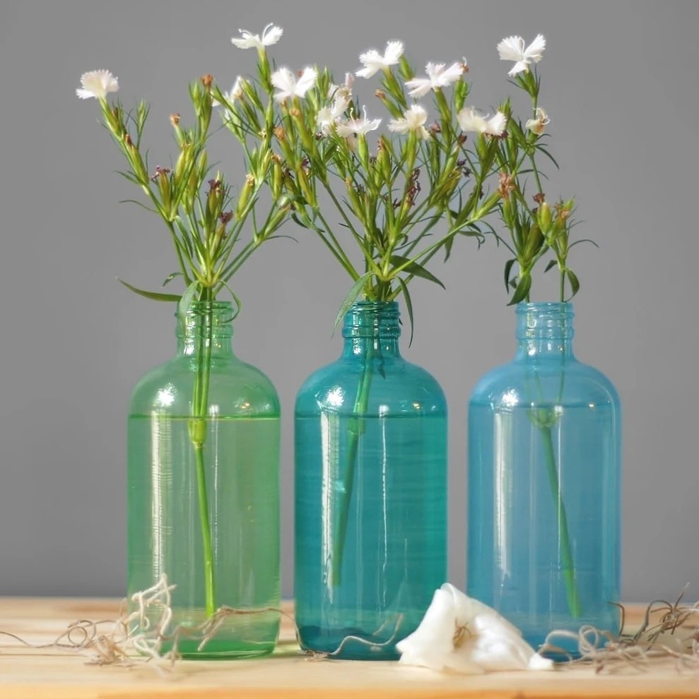 Best Seaside Decor Colored Glass Bottles Set Of Three Hand This Month