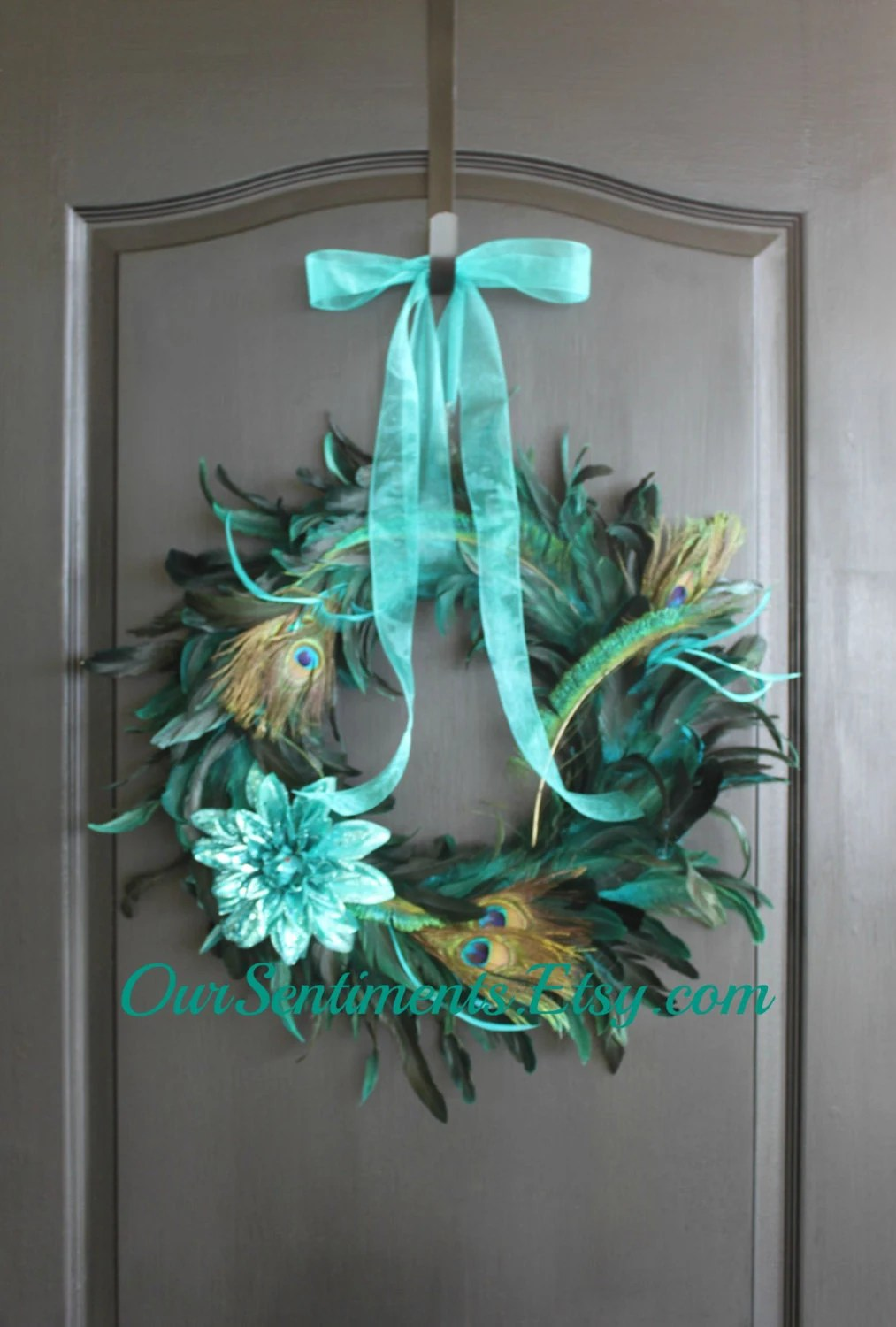 Best Peacock Feather Wreath Summer Wreath Home Decor By This Month