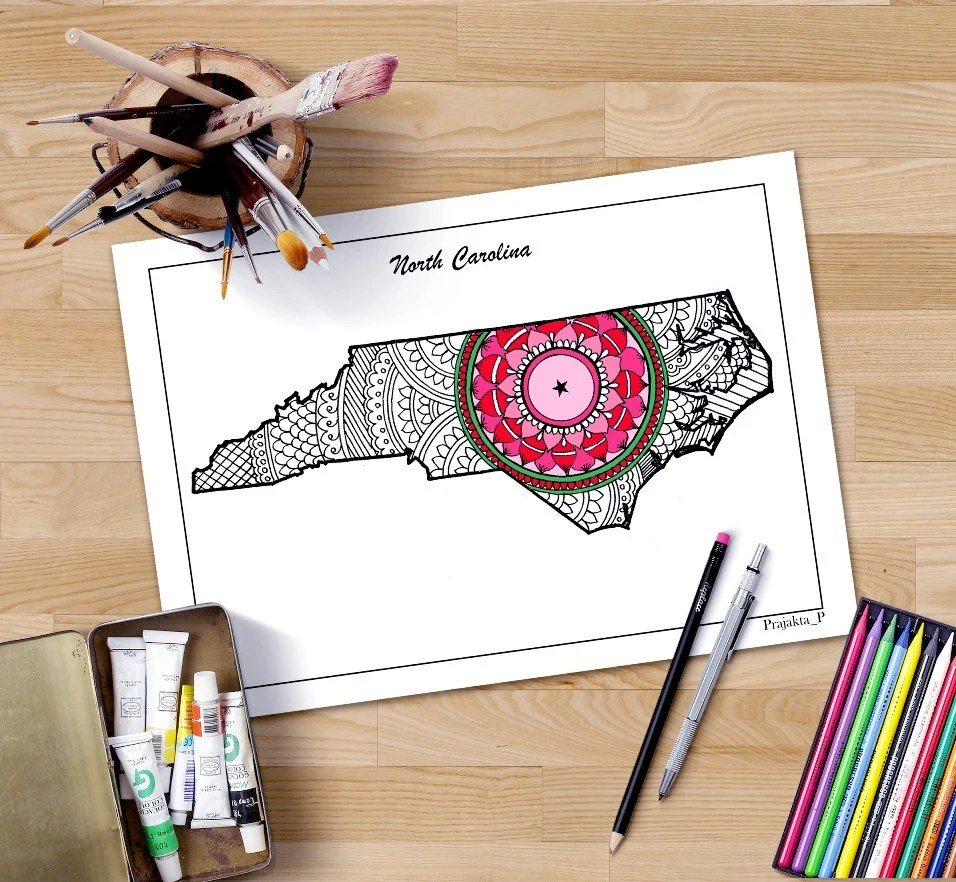 Best North Carolina State Map Decorative Maps Usa *D*Lt Coloring This Month