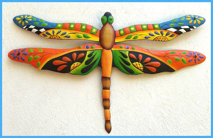 Best Metal Art Dragonfly Painted Metal Dragonfly Wall Hanging This Month