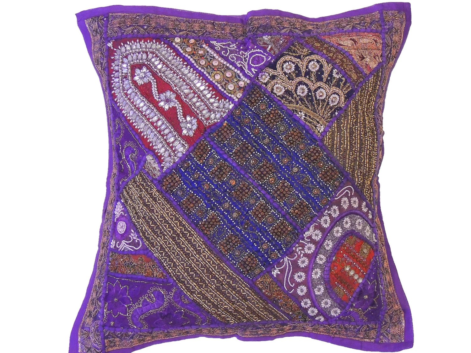 Best Purple Decorative Indian Floor Pillow Cover Wood Beaded This Month